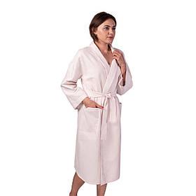Вафельний халат Luxyart Кімоно розмір L 100% бавовна пудровий КОД: LS-140
