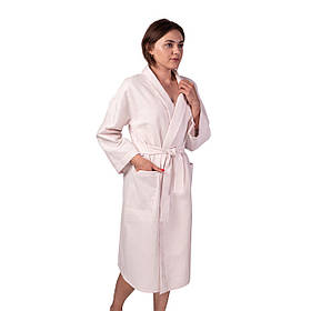 Вафельний халат Luxyart Кімоно розмір XL 100% бавовна пудровий КОД: LS-141