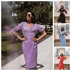 Р 42-60 Літній лляне плаття на запах 24155
