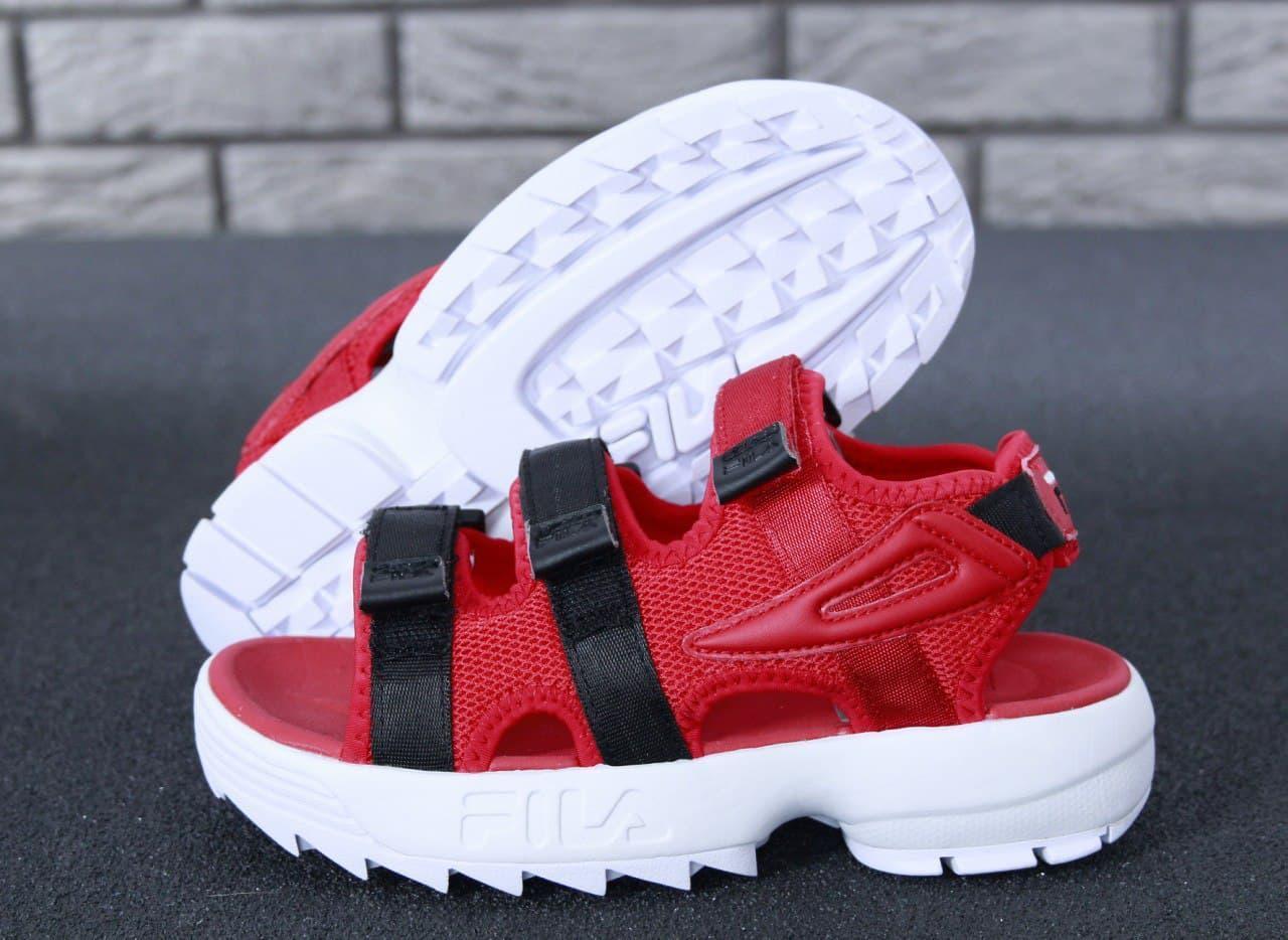 Женские сандалии FILA Sandals (красные с белым) К50020 летняя качественная обувь