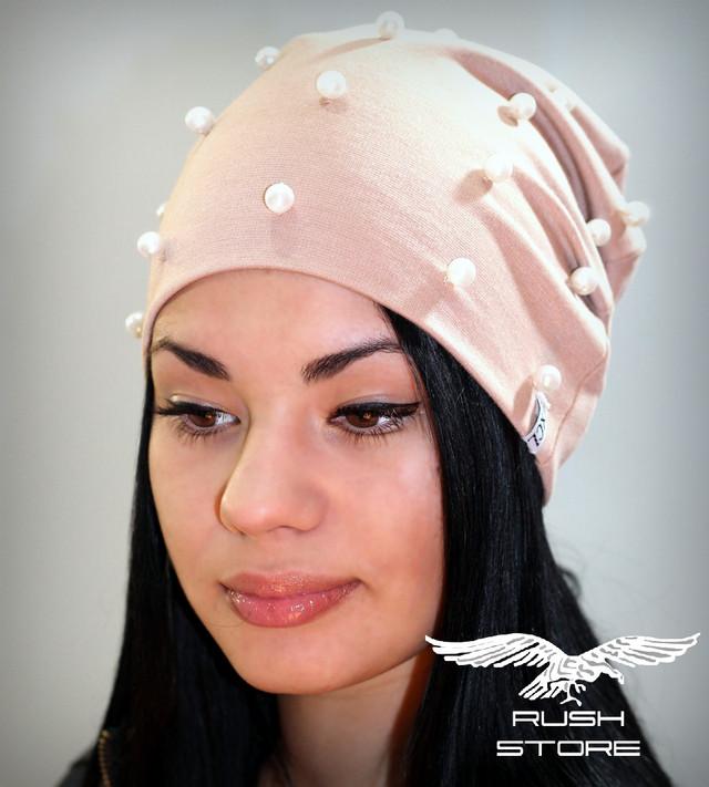 Купить женскую шапку с бусинами