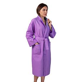Вафельный халат Luxyart Кимоно  XL Сиреневый  КОД: LS-263