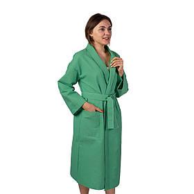 Вафельный халат Luxyart Кимоно  S Зеленый  КОД: LS-2524