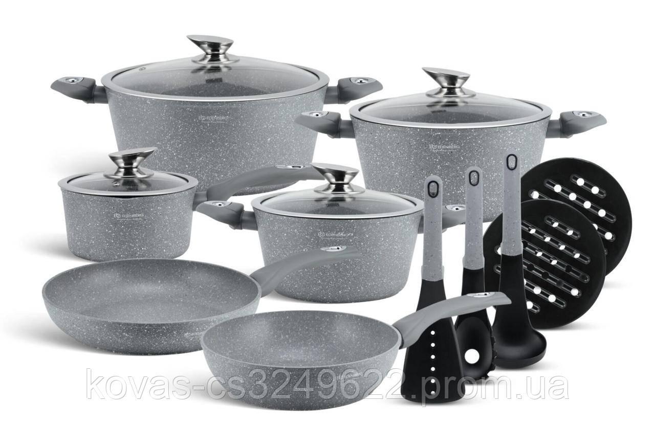 Набір посуду Edenberg EB-5620 Grey Stone - 15 пр