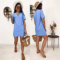 Стильне плаття з кишенями, є батал, арт N307, колір блакитний
