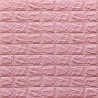 Декоративна 3D панель самоклейка під цеглу Рожевий 700х770х7мм (004-7)