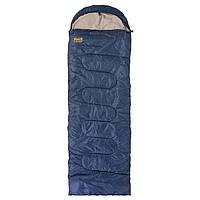 Спальний мішок-ковдра з капюшоном GreenCamp Спальник похідний туристичний теплий Синій(GRC1009-B)