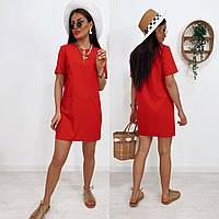 Стильне плаття з кишенями, є батал, арт N307, колір червоний