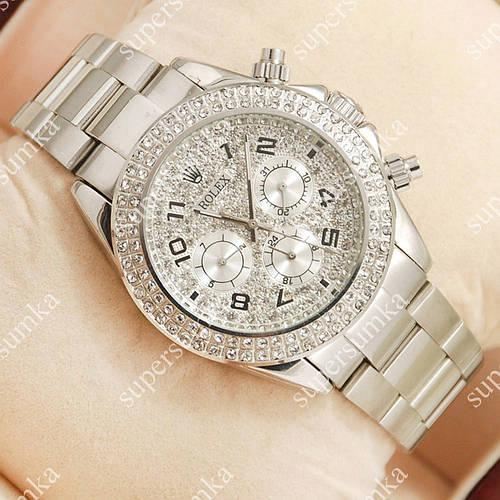 Стильные наручные часы Rolex Daytona Women Crystal Silver 2031