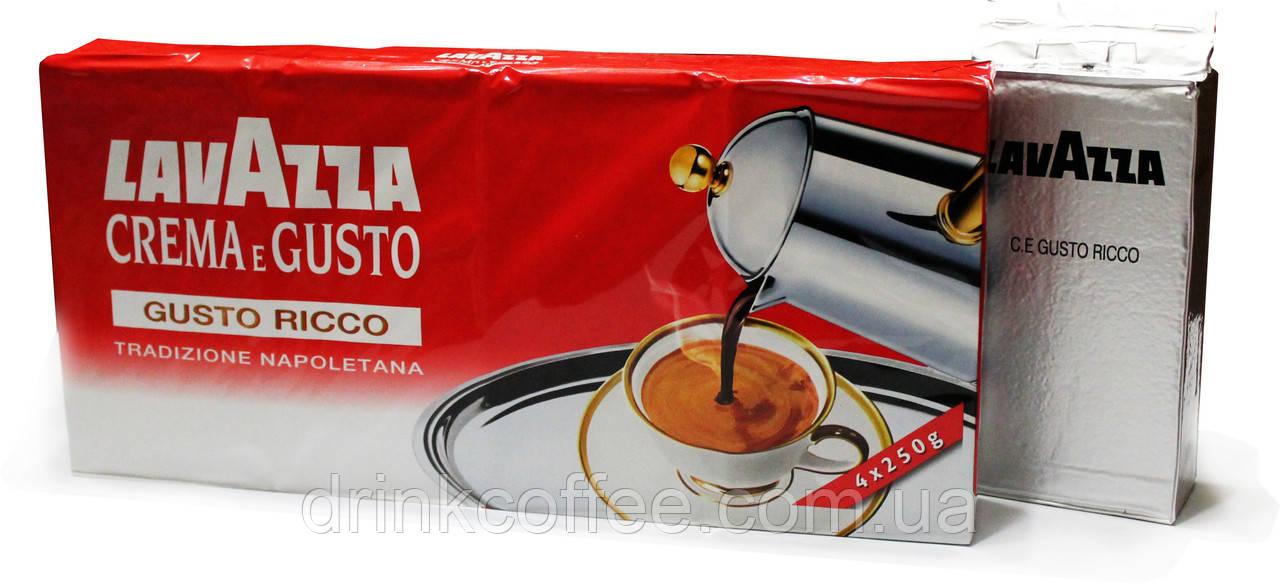 "Кофе молотый Lavazza Crema e Gusto Ricco, 80% Арабика/20% Робуста, Италия, 250 г - Интернет магазин ""Drink_coffee"" в Чернигове"