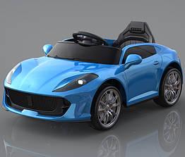 Дитячий легковий електромобіль від 3-х до 8-ми років, 2 мотора по 18W, 1 аккум, MP3, Bluetooth, T-7653 Eva Blue