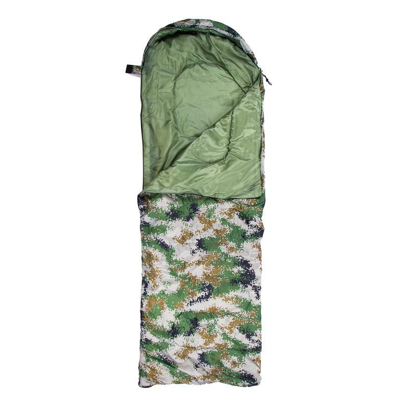 Спальный мешок-одеяло с капюшоном WORLD SPORT Спальник походный туристический теплый Камуфляж Зеленый (S1005B)