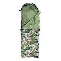 Спальний мішок-ковдра з капюшоном WORLD SPORT Спальник похідний туристичний теплий Камуфляж Зелений (S1005B)