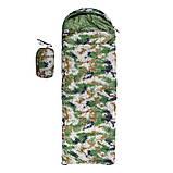 Спальный мешок-одеяло с капюшоном WORLD SPORT Спальник походный туристический теплый Камуфляж Зеленый (S1005B), фото 2