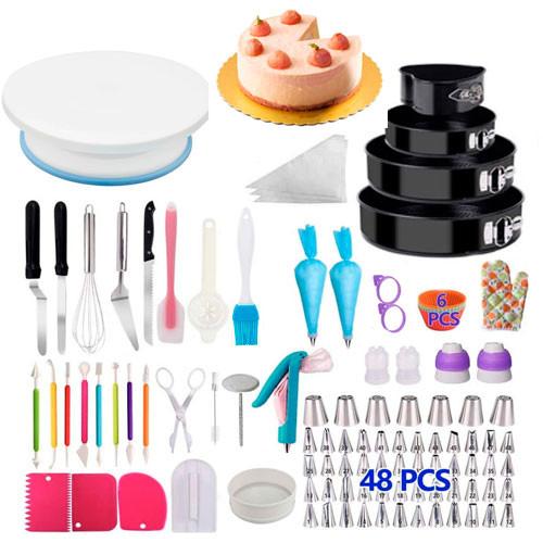 Набір для декору тортів кексів, кондитерські інструменти, 212шт і підставка