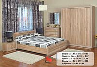 """Набор в спальню """"Корвет"""" (акация)шафа,  ліжко, тумба, комод."""