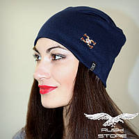 Женская шапка синяя с украшением