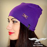 Женская шапка фиолетовая с украшением, фото 1
