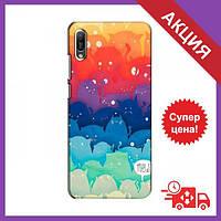 Бампер з принтом для Huawei Y6 2019 / Бампер на Хуавей Вай 6 2019 / Бампер для Huawei Y6 2019 (Mew)