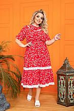Красиве жіноче плаття Софт Декорований мереживом макраме Розмір 50 52 54 56 58 60 62 64
