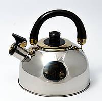 Чайник со свистком из нержавеющей стали Maestro MR-1300 (2.5 л) черный   металлический чайник Маэстро, Маестро