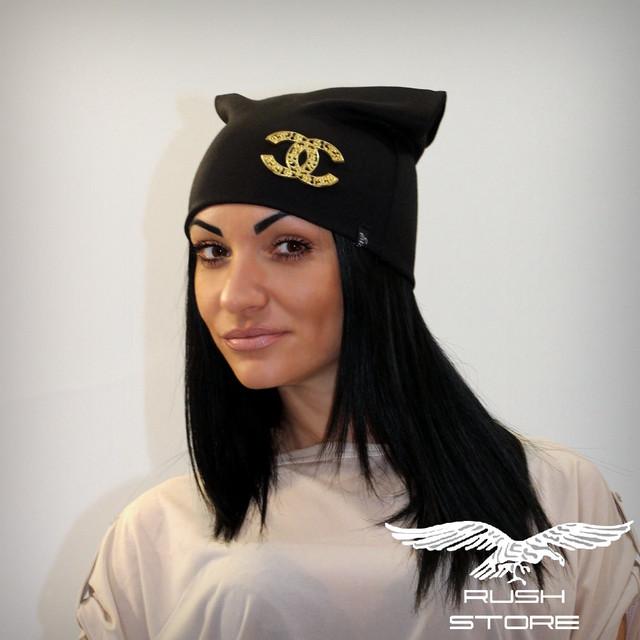 Купить женскую шапку черную