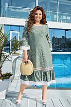 Ошатне плаття жіноче Креп софт Оздоблення мереживо Розмір 50-52 54-56 58-60 62-64 Різні кольори