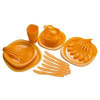 Набір туристичного посуду для походу туризму на 6 персон 54 предмета GreenCamp Пластик Жовтий (GC-139/54Y)
