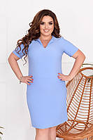 Стильне плаття з кишенями, 42-60, арт N307, колір блакитний
