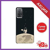 Чехол с принтом для OPPO A55 / Чехол с картинкой на Оппо А55 / Чехол для OPPO A55 (Космонавт на луне)