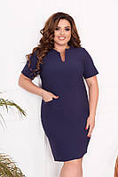 Стильне плаття з кишенями, 42-60, арт N307, колір т. синій