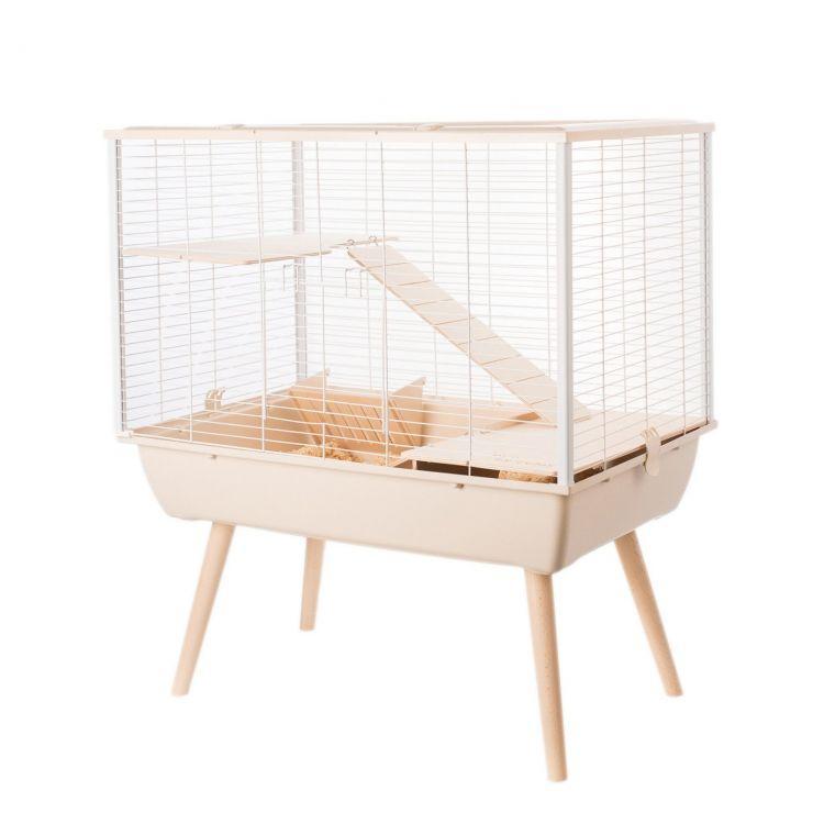 Клетка для кроликов, морских свинок, шиншилл, хорьков, 2 этажа, бежевый цвет