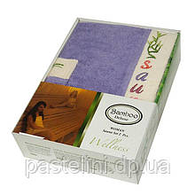Набір для сауни жіночий Gursan Bamboo, фіолетовий, 2 предмета бамбук 100%