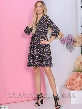 Чорна сукня міні з різнокольоровими квіточками