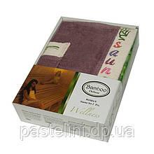 Набір для сауни жіночий Gursan Bamboo, сливовий, 2 предмета бамбук 100%