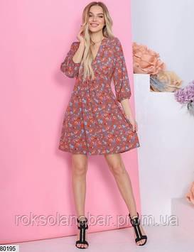 Розовое платье мини с разноцветными цветочками