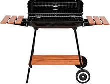 Гриль прямокутний вугільний 53х33 см на 4 ніжках (2 з колесами) з дерев'яними полицями LUND 99589 (Польща)