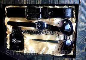 Чоловічий подарунковий набір: ремінь, ручка, браслет, годинник, парфуми, окуляри DM109329