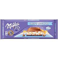Шоколад молочный Milka Crispy Joghurt (милка с йогуртом и хлопьями), 300 гр, фото 1