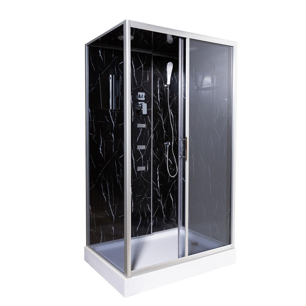 Гідробокс TKF 7715 Чорний онікс BG 120х80х210 дрібний піддон