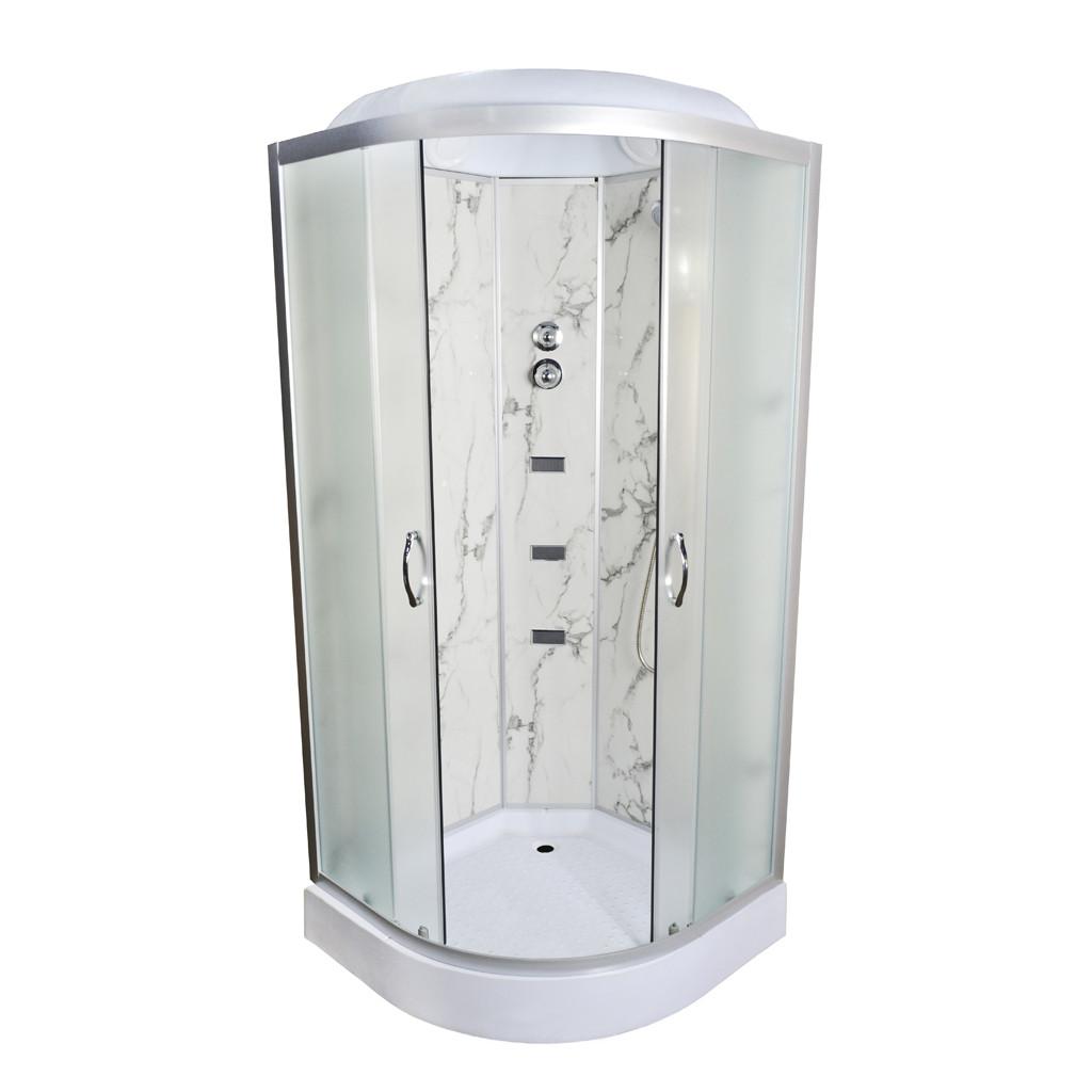 Гидробокс TKF90/1 Белый мрамор WG  90x90x216 мелкий поддон