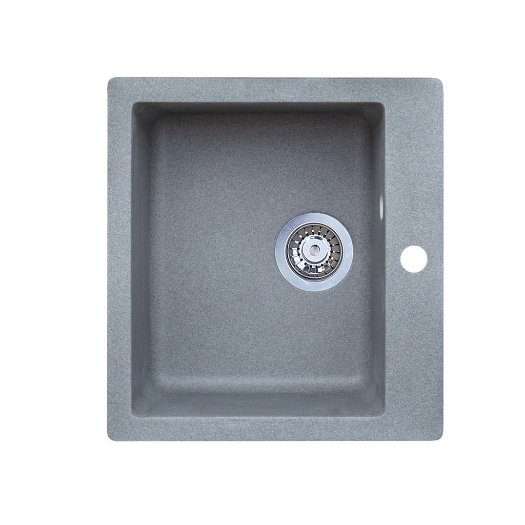 Мойка гранитная Barni серый металлик 45,5х49