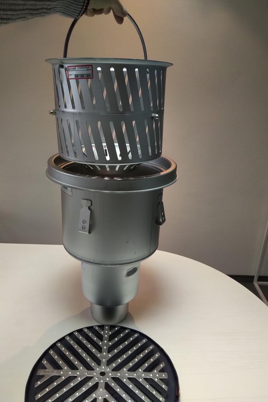 Промисловий трап Blucher 755.573.110 з корзиною для сміття 7 л, нержавіюча сталь, вертикальний вихід DN110