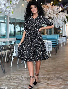 Платье в цветы свободного кроя черного цвета