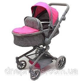 Большая коляска-трансформер для кукол Melogo, корзина для вещей, розовый, 60*30*55 см, (9695)