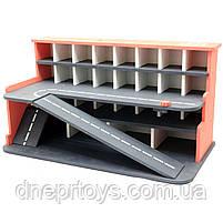 Деревянная игрушечная парковка-гараж для машин, красная, 65х35х35 см, на 28 машинок, фото 2
