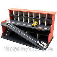 Деревянная игрушечная парковка-гараж для машин, красная, 65х35х35 см, на 28 машинок, фото 4