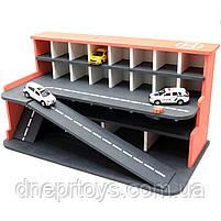 Деревянная игрушечная парковка-гараж для машин, красная, 65х35х35 см, на 28 машинок, фото 5