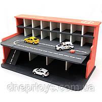 Деревянная игрушечная парковка-гараж для машин, красная, 65х35х35 см, на 28 машинок, фото 6