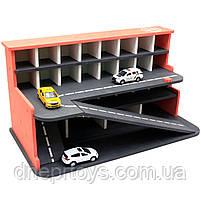 Деревянная игрушечная парковка-гараж для машин, красная, 65х35х35 см, на 28 машинок, фото 7